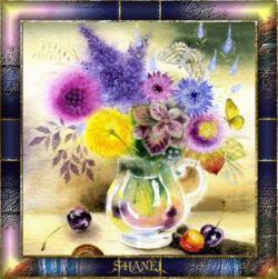 cadre fleurs en vase