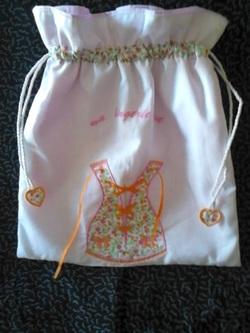 Sac lingerie: CORSET à LACET , orange et rose