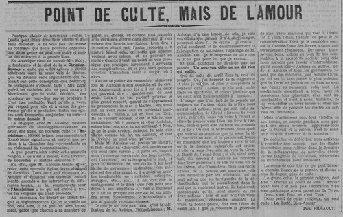 Point de culte, mais de l'amour (Le Fraterniste, 15 décembre 1910)
