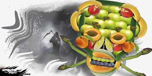dessin de JERC du lundi 26 février 2018 caricature pesticides dans les fruits et legumes 5 fruits et legumes par jour pour un cancer de qualité www.facebook.com/jercdessin @dessingraffjerc