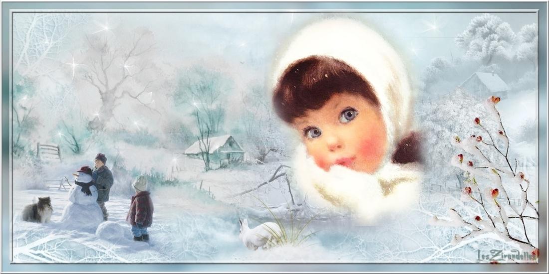 Entêtes d'hiver, bleu, enfants et chien