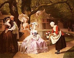 18643 Marie Antoinette and Louis XVI in the Garden of the T