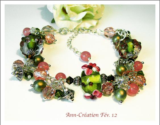 Bracelet Grappe Fleurs Verre Lampwork Vert-Rose / Cristal / Plaqué Argent