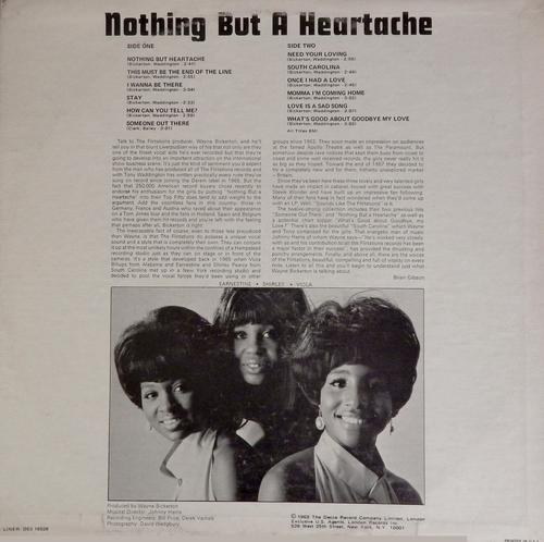 "The Flirtations : Album "" Nothing But Heartaches "" Deram Records DES 18028 [US]"