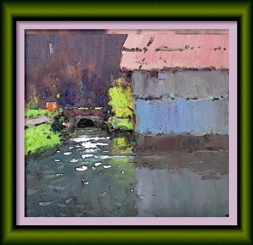 Dessin et peinture - vidéo 2541 : Le moulin à eau (peinture de plein air) - huile ou acrylique.