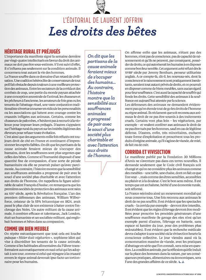 Les droits des bêtes, éditorial de Laurent Joffrin