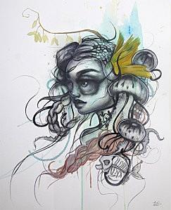 Agua Mala - Charcoal & Watercolor on Paper - 2011