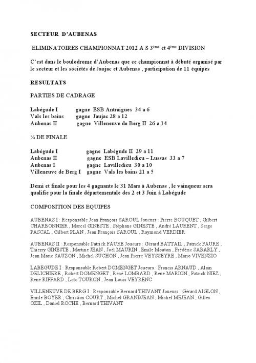 CONCOURS AS DU 22 JANVIER 2012