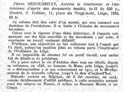 Pierre Debouxhtay, Antoine le guérisseur et l'Antoinisme (critique du livre Revue des lectures)
