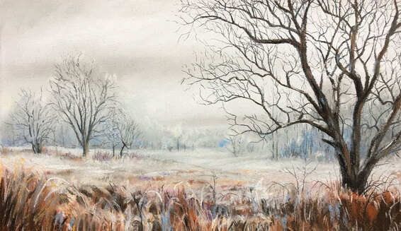 Pastel drawing landscape winter scene