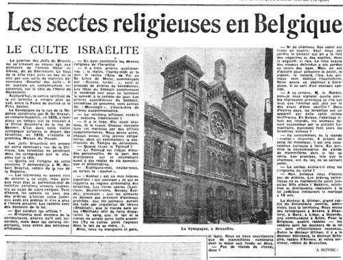 Les sectes religieuses en Belgique (La Lanterne, 6 mai 1950)(Belgicapress)