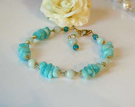 Bracelet Pierre d'Amazonite / Laiton et Plaqué Or Gold Filled