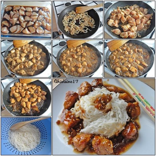 Poulet caramélisé au nuoc mam, sauce soja, miel et graines de sésame