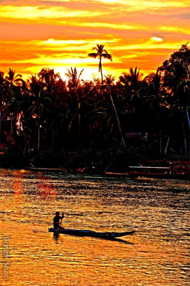 Kampong Cham - Coucher de soleil sur le Mékong