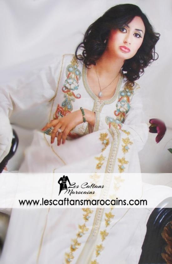 caftan blanc en ligne et sur mesure pour votre mariage à petit prix KAF S10084