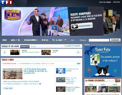 Page d'accueil du site TF1.fr