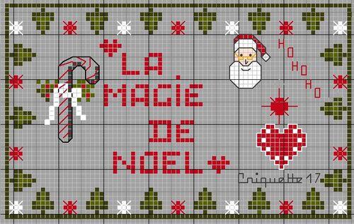 Grille broderie gratuite, La Magie de Noel