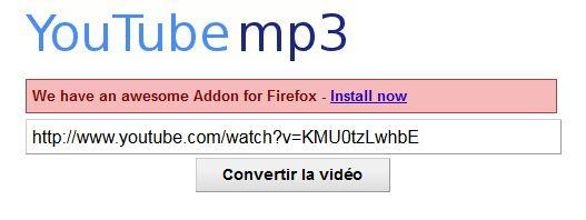 Clic sur image pour aller sur site conversion et coller adresse youtube