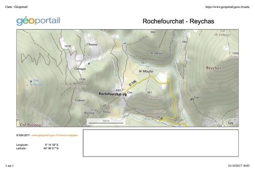 —- De Rochefourchat à Reychas - Géoportail —- image/photo pouvant être protégée par Copyright ou autre —-