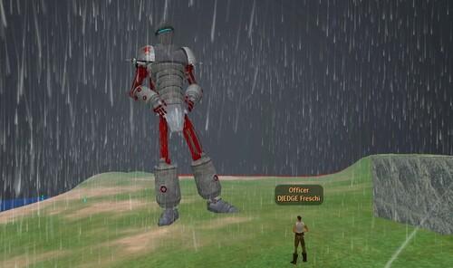 Robot Géant sous la pluie