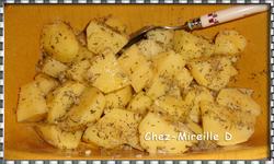 Coquelet rôti sur Pommes de terre au Thym