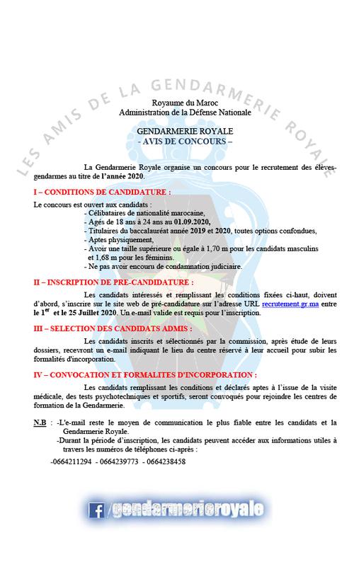 Avis de concours de recrutement Gendarmerie Royale 2020