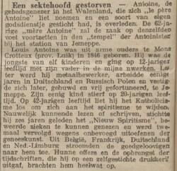 Een sektehoofd gestorven (Limburger koerier, 26 juin 1912)
