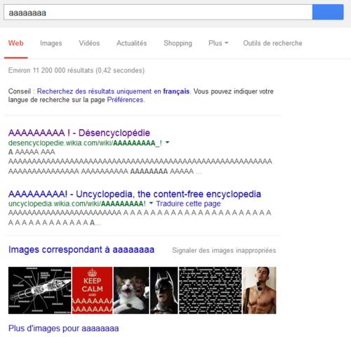 Combien de a faut-il pour qu'on ne trouve plus rien sur Google ?