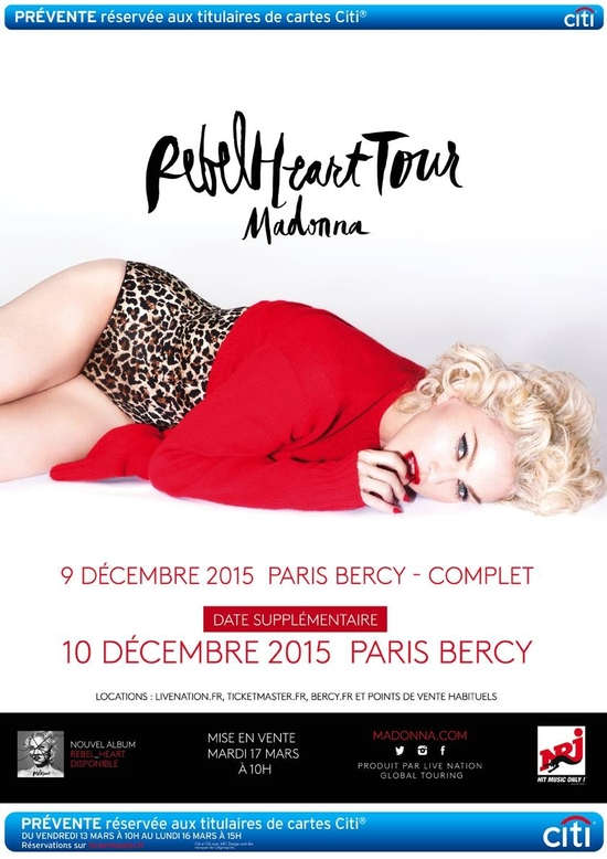 Madonna Rebel Heart Tour Paris Bercy Arena 10 Dec 2015