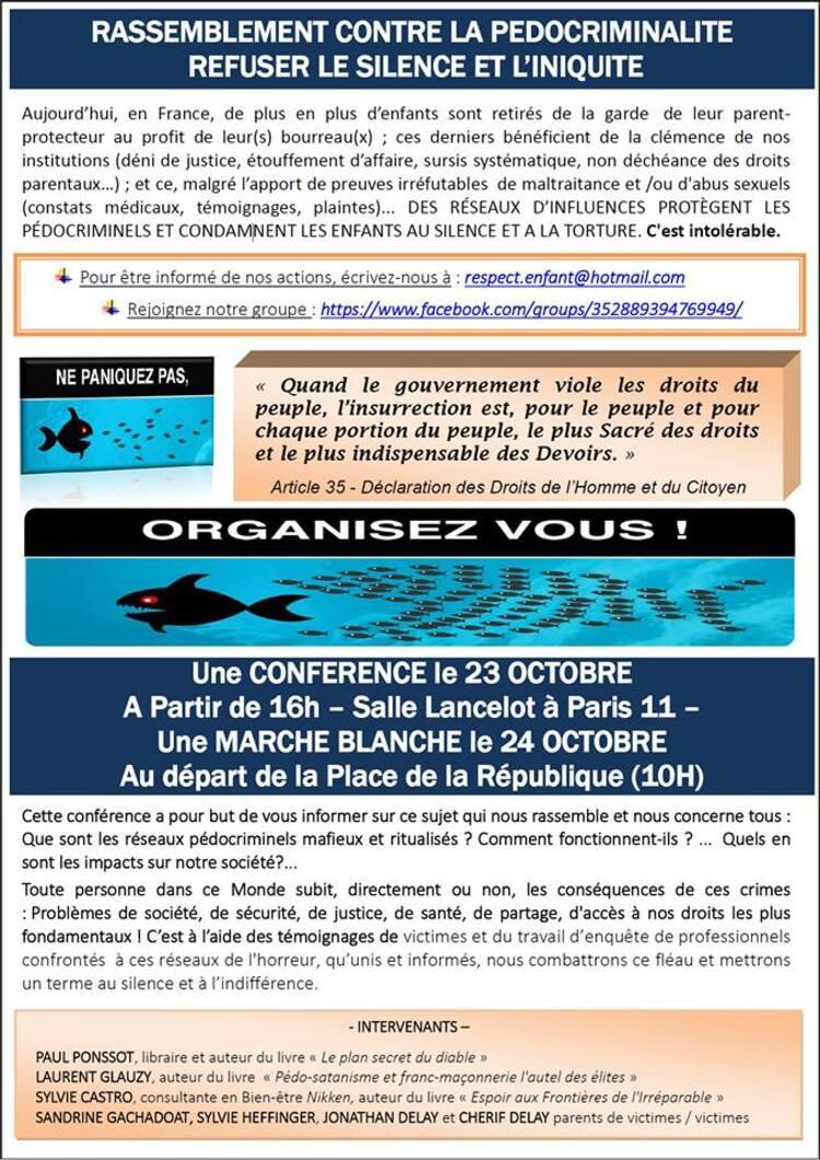 ➤ Réseaux pédocriminels : Marche Blanche à Paris les 23-24 octobre 2015