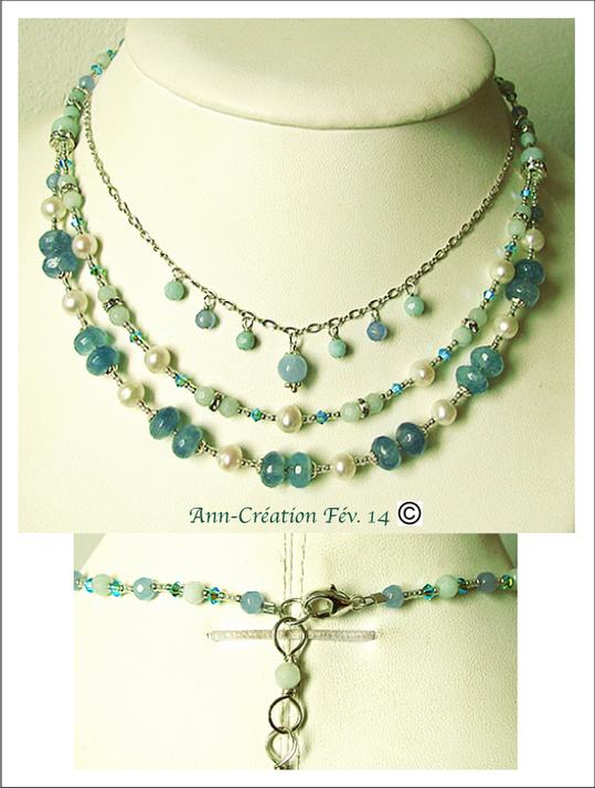 Collier Aqua 3 rangs  Perles de Culture, Quartz bleu, Amazonite... / Argent 925