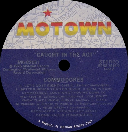 "The Commodores : Album "" Caught In The Act "" Motown Records M6-820S1 [ US ]"