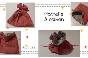 """Pochette à cordon : Cousue à partir du tutoriel """"Ma petite pochette"""" de Mes Petites Coutures."""