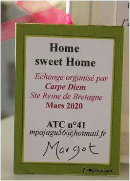 ATC brodée Home sweet home