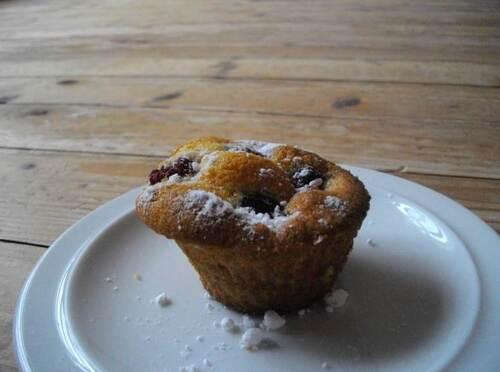 Muffins à la framboise et à la crème fraiche