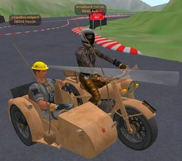 Militaires, moto, et side-car