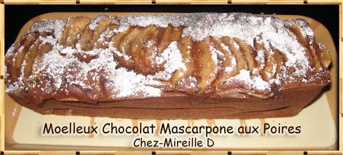 Recette de Moelleux Chocolat Mascarpone aux Poires