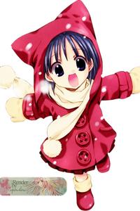 petite fille kawaii hiver