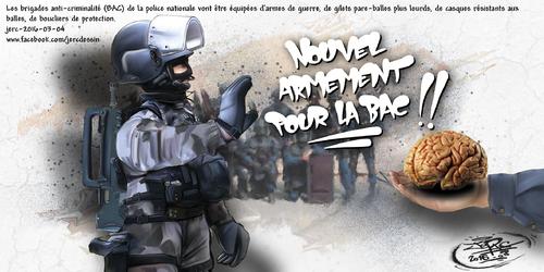 JERC 2016-03-04, caricature Police Nationale, Est-ce qu'on peut équiper la police de tank ainsi que d'avion de chasse SVP www.facebook.com/jercdessin Cliquer sur la photo pour voir en plus grand