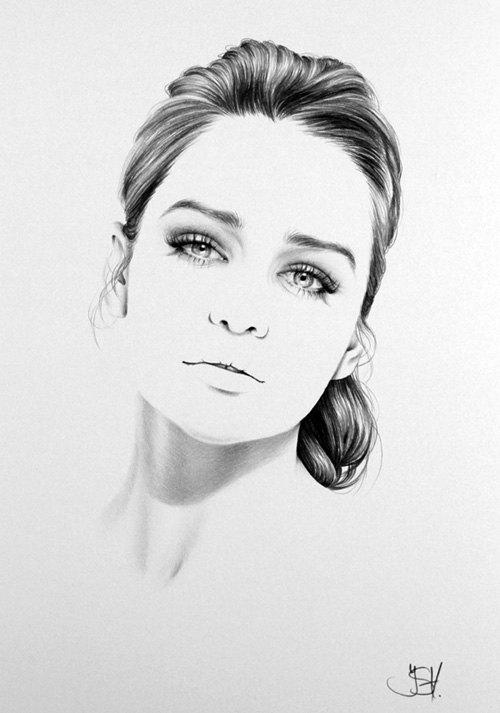 Emilia Clarke crayon dessin beaux-arts Portrait impression main signé