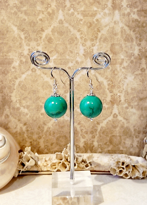 Boucles Pierre de turquoise verte naturelle 16mm  / Argent 925  Natural green turquoise stone ball 16mm / sterling silver