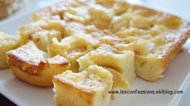 Recette: gâteau aux pommes.