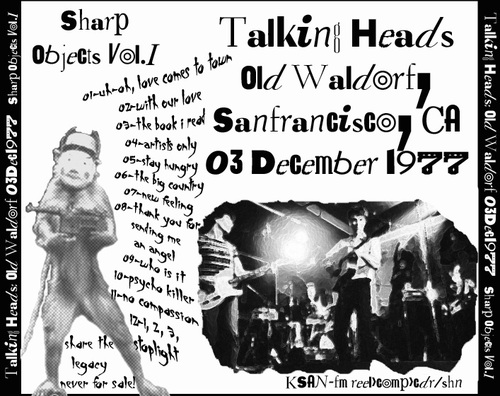 Live : Talking Heads - Old Waldorf SF - 3 décembre 1977