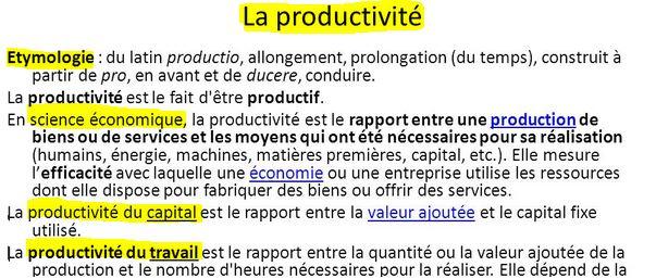 Qu'est ce que la productivité?