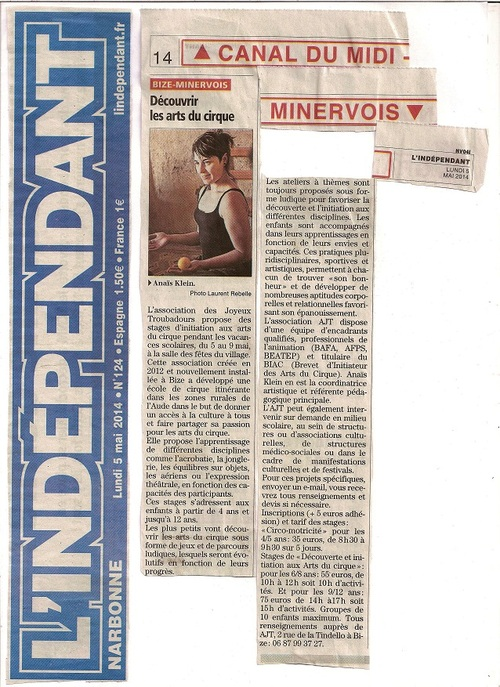 Article dans L'Indépendant Mai 2014