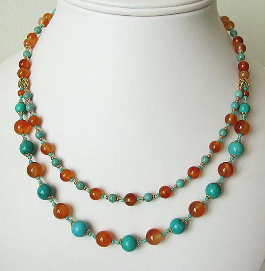 Collier 2 rangs, Turquoise de Chine et Cornaline / Métal doré, laiton et Plaqué Or Gold Filled
