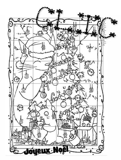 Calendrier de décembre avec Calmittos ou Totoro de Noël...