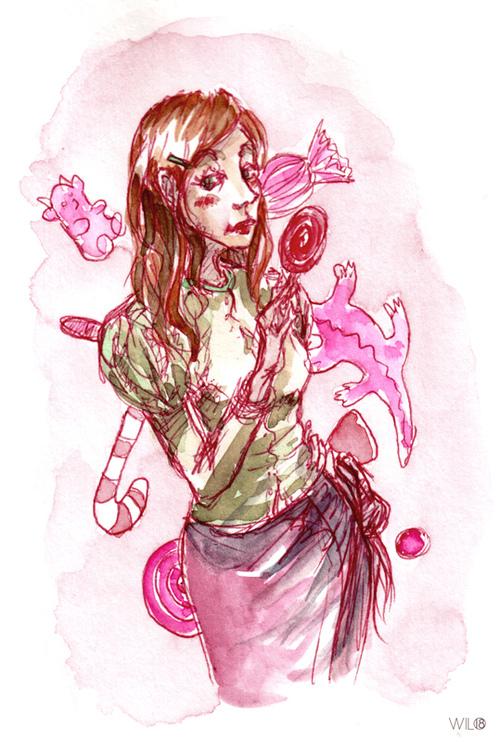 Crayon rouge et aquarelle