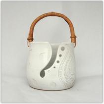 Bol à laine blanc paisley_White yarn bowl