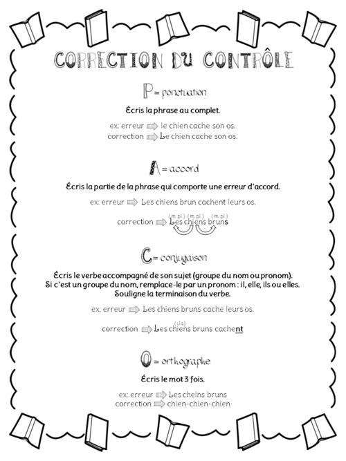Grilles de correction pour une dictée ou un contrôle